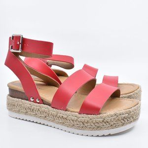 Red Faux Leather Strap Platform Wedge Sandals